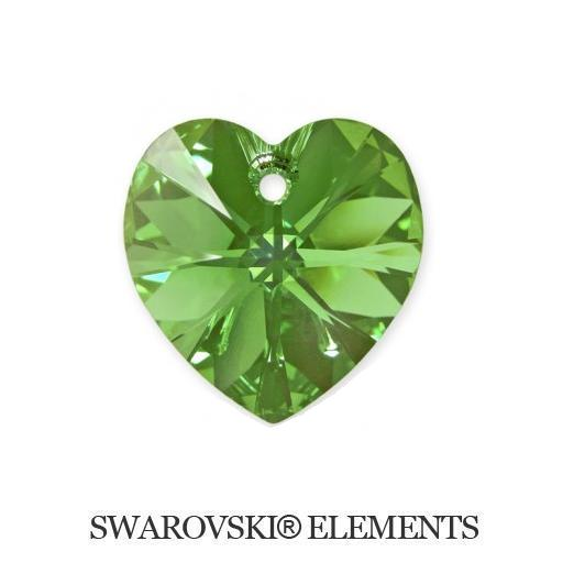 Heart - Peridot AB - 18x17,5 mm, 1 ks