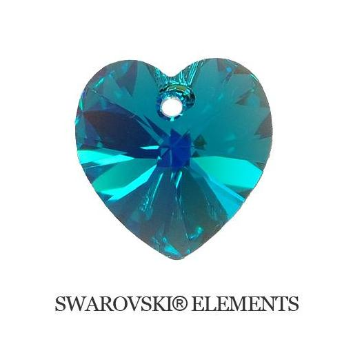 Heart - Blue Zircon AB - 10,3x10 mm, 1 ks
