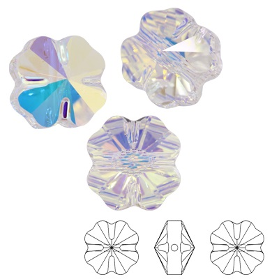 Clover bead - Crystal AB - 12 mm, 1 ks