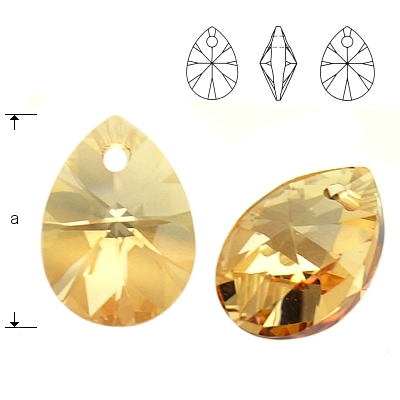 Mini Pear - Crystal Golden Shadow - 12 mm, 1 ks
