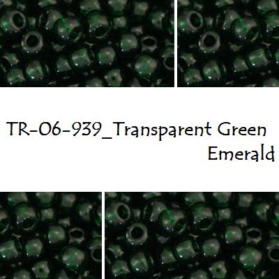 TOHO 6/0 Transparent Green Emerald (939), 10 g