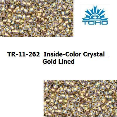 TOHO 11/0 Inside-Color Crystal/Gold Lined (262), 10 g