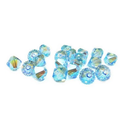 Xilion Bicone - Aquamarine AB 2x - 4 mm, 20 ks