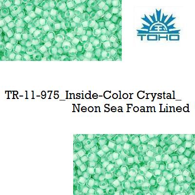 TOHO 11/0 Inside-Color Crystal_Neon Sea Foam Lined (975), 10 g