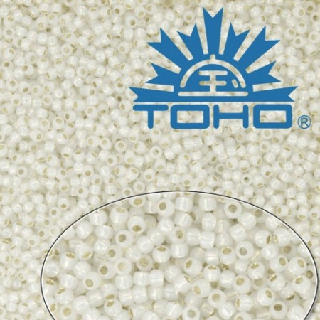 TOHO 11/0 Silver-Lined Milky White (2100), 10 g