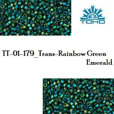 TOHO TREASURE 11/0 Trans-Rainbow Green Emerald (179), 5 g