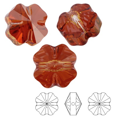 Clover bead - Crystal Red Magma - 12 mm, 1 ks