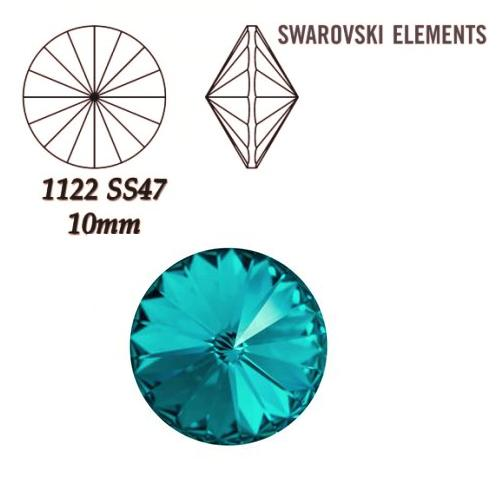 Rivoli – Blue Zircon Foiled – 10 mm