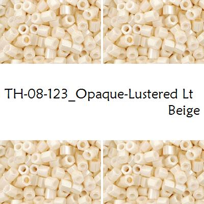 TOHO Hex 8/0 Opaque-Lustered Lt Beige (123), 10 g