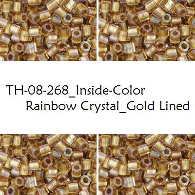 TOHO Hex 8/0 Inside-Color Rainbow Crystal_Gold Lined (268), 10 g