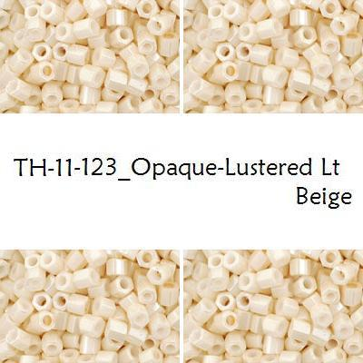 TOHO Hex 11/0 Opaque-Lustered Lt Beige (123), 10 g