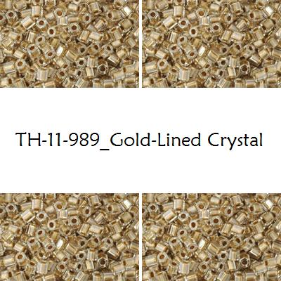 TOHO Hex 11/0 Gold-Lined Crystal (989), 10 g
