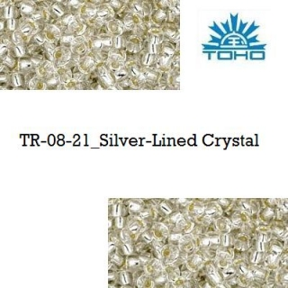 TOHO 8/0 Silver-Lined Crystal (21), 10 g